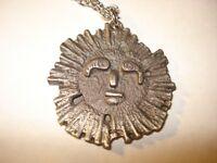 Vintage Pewter Sunshine Pendant Necklace 80's  Stamped crown