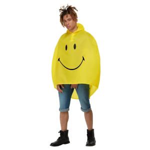 Smiley Party Poncho Yellow & Black Festival Rain Coat Fancy Dress 80s