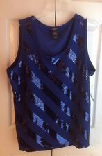 """""""New"""" WITH TAGS NOTATIONS WOMAN Blue Sequin Tank Top Sleeveless Sz 2X BEAUTIFUL"""