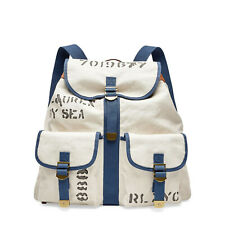 Women's Ralph Lauren Collection Canvas Leather Nautical Backpack New $795