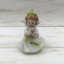 Vintage October Birthday Floral Ceramic Angel Figurine #279