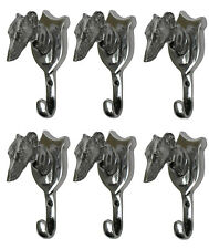 Greyhound Head Coat Hook Lot of 6 Pieces Wall Mount Hooks
