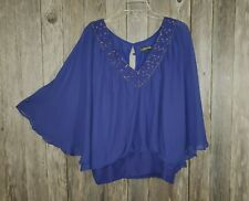 Rampage Women's Purple Beaded Boho Peasant Blouse Top Size L