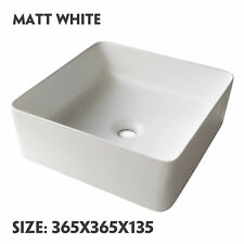 Basin Sink Cloakroom Wash Above Counter Top Mounted Ceramic Matt White