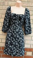 VERY BLACK WHITE FLORAL PUFF LONG SLEEVES A LINE SILKY FEEL TEA DITSY DRESS 12 M
