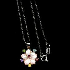 YaoX Feather Ladies Pink Flower Culture Pendant Vintage Necklace Silver Key Jewelry