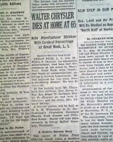 WALTER CHRYSLER Corporation Automobiles Cars Founder DEATH 1938 Old NY Newspaper