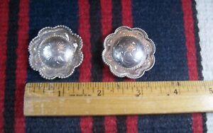 "Vtg PAIR Sterling Silver 1.5"" Rope Flower Conchos Western Headstall Bridle Belt"