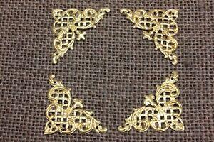 "4 old decorative Brass Corners Picture Frame Clock 1 3/4"" Appliques ADORNMENTS"