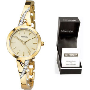 Sekonda Ladies Womens Dress Watch Gold Stone Set with Champagne Dial Bracelet