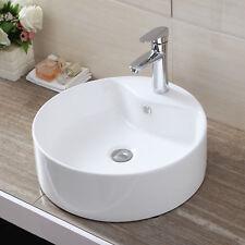 White Bathroom Cloakroom Round Ceramic Countertop Washing Bowl Wash Basin Sink