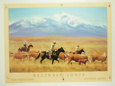 Reginald Jones Homeward Bound 1995 western art print cowboy horses cows 35x26""