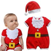 Christmas Newborn Baby Boys Girls Romper Bodysuit Jumpsuit Hat Outfits Clothes
