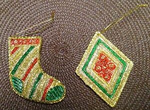 Very Sparkly Christmas Stocking & Diamond Ornaments in Gold, Red & Green.