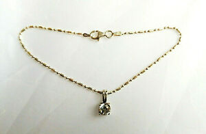 Sterling silver dot & dash bracelet with cz charm Milor Italy 7.5 inches 2.7g