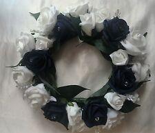 Wedding CERCHIO / Corona accordo Navy E Bianco Rose con Crystal NEBULIZZAZIONI SU PIANTE