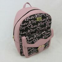 Betsey Johnson Backpack Pink & Black Luv Print Womens Bag LBMARIAH $88 Retail