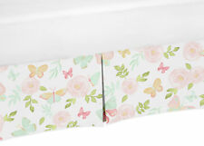 Blush Pink Mint Butterfly Floral Watercolor Rose Baby Crib Bed Skirt Dust Ruffle