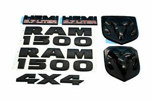 Set OEM RAM 1500 4X4 Grille Tailgate 5.7 Liter HEMI Emblem Badge Black 2013-2018