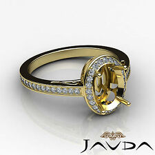 Diamond Engagement Filigree Ring Oval Semi Mount Halo Pave 14k Yellow Gold 0.5Ct