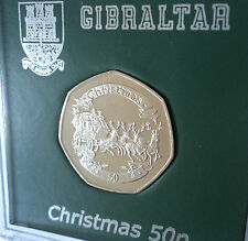 2008 Rock of Gibraltar Christmas Keepsake 50p Coin BU Gift in Card Display Case