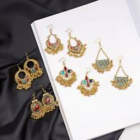 Vintage Indian Ethnic Bollywood Women Gold Bohemian Drop Antique Charm Earrings