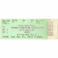 Trans Siberian Orchestra Concert Ticket Stub Philly 12/21/13 Lost Christmas Eve