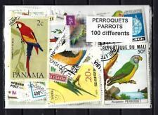 Perroquets - Parrots 100 timbres différents oblitérés