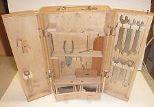 Vintage Wooden Toolbox Opening Doors Wrench Pliers Ruler