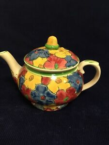 """Vintage 1905 Adams Titan Ware Royal Ivory  Floral Teapot Hand Painted 5"""" Tall"""