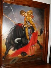 Original Oil painting Beautiful Spanish Bullfigter & Bull Signed Cortes 1930-40s