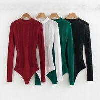 Lady Knitted Bodysuit Net Hollow Out Long Sleeve Bodycon Leotard Jumpwear Blouse