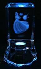 3D Laser Engraved Crystal Glass Cube Princess Girl & Roses w LED Light Stand