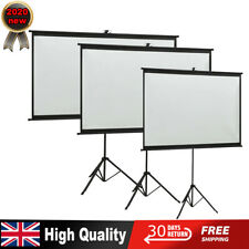 "Portable 50"" to110"" Tripod HD Projection Screen Matte Pull Down Projector New UK"