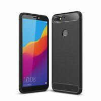 Huawei Onore 7C TPU Custodia per Cellulare Fibra Carbonio Ottica Spazzolato Nera