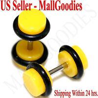 2056 Yellow Fake Cheaters Illusion Faux Ear Plugs 16G Bar 2G = 6mm - 2pcs