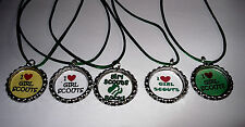 20 GIRL SCOUT BOTTLECAP NECKLACE WITH GREEN CORDS GIFT PARTY FAVORS GIRL SCOUTS