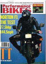 Performance Bikes Aug 1990 Norton F1 Rotary BMW K100RS Yamaha XT600E