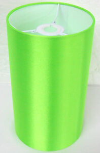Hand Made Lime Green Cylinder Lampshade With White PVC Inner