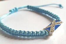Saltire Flag Charm on dainty Light Blue Macrame Bracelet