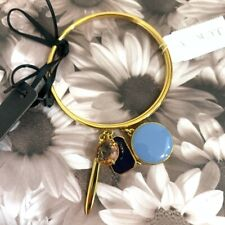 NWT $38 J. Crew Charm Bangle Two Bracelet Set Gold Tone with Blue Enamel Charms