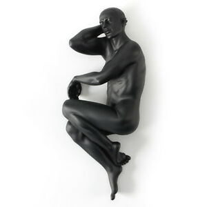 "8"" Modern Art Sculpture handmade black resin Nude Side lying man body statue"