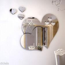Luxury 3D Mirror Love Hearts Wall Decal Sticker Living Room Home Decor Art DIY
