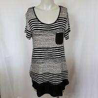 Anne Klein AK Black White Stripe Layer Rayon Pocket Tee Shirt SZ M