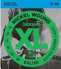 D'Addario EXL130 Electric Guitar Strings 8-38 Extra Super Light sets