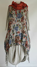 SARAH SANTOS  cotton/linen parachute dress & long floral dress set XL/XXXL TAUPE