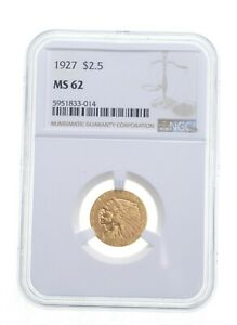 MS62 1927 $2.50 Indian Head Gold Quarter Eagle - Graded NGC *4863
