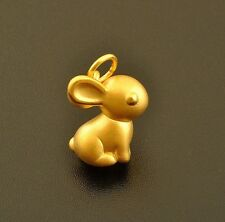 Fine Pure 999 24k Solid Yellow Gold 3d Bless Lucky Rabbit Pendant 0.8-1g