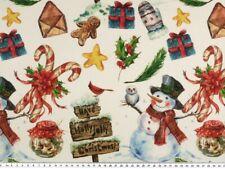 Weihnachtsstoff, Schneemänner & Weihnachtsmotive, 140cm