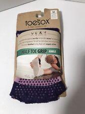 Toesox Unisex Half Toe Grip Ankle No Slip Socks Sz  M Women 8.5-10.5 Men 7.5-9.5